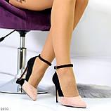 Элегантные черные розовые замшевые туфли на шпильке на ремешке шлейке, фото 3