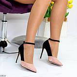 Элегантные черные розовые замшевые туфли на шпильке на ремешке шлейке, фото 5