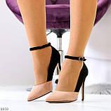 Элегантные черные розовые замшевые туфли на шпильке на ремешке шлейке, фото 6