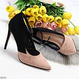 Элегантные черные розовые замшевые туфли на шпильке на ремешке шлейке, фото 7