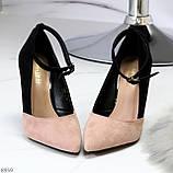 Элегантные черные розовые замшевые туфли на шпильке на ремешке шлейке, фото 8