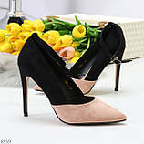 Элегантные черные розовые замшевые туфли на шпильке на ремешке шлейке, фото 10