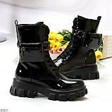 Дизайнерские черные женские ботинки с съемными кошельками сумочками, фото 2