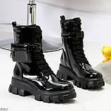 Дизайнерские черные женские ботинки с съемными кошельками сумочками, фото 3