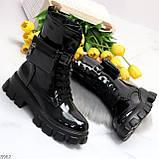 Дизайнерские черные женские ботинки с съемными кошельками сумочками, фото 4