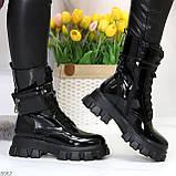 Дизайнерские черные женские ботинки с съемными кошельками сумочками, фото 8