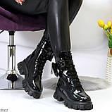 Дизайнерские черные женские ботинки с съемными кошельками сумочками, фото 9
