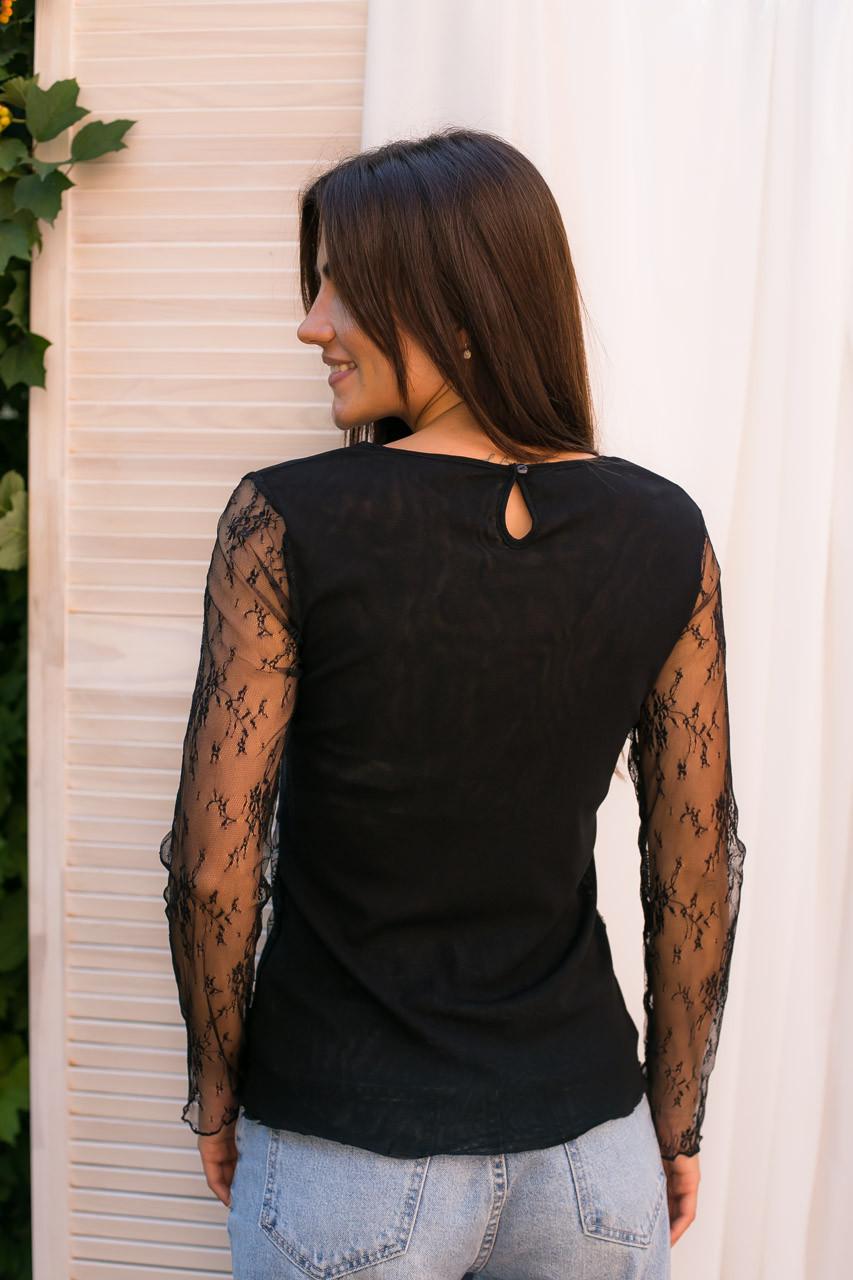 Hello Kiss! Элегантная блуза из тонкого кружева - черный цвет, L/XL