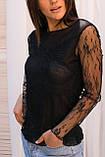 Hello Kiss! Элегантная блуза из тонкого кружева - черный цвет, L/XL, фото 2