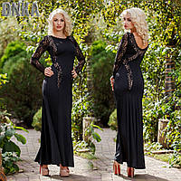 Платье вечернее вставки гипюр 04/780