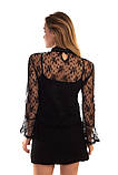 Paccio Кружевная блуза в стиле ампир - черный цвет, M, фото 3