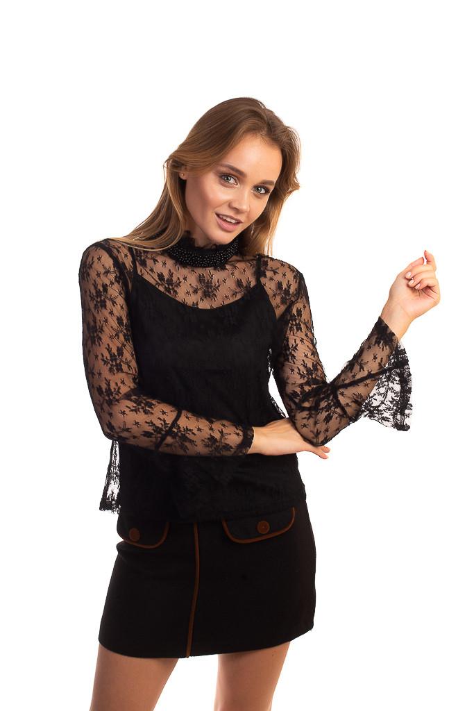 Paccio Кружевная блуза в стиле ампир - черный цвет, S