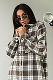 Clew Длинная женская рубашка оверсайз - коричневый цвет, S, фото 3