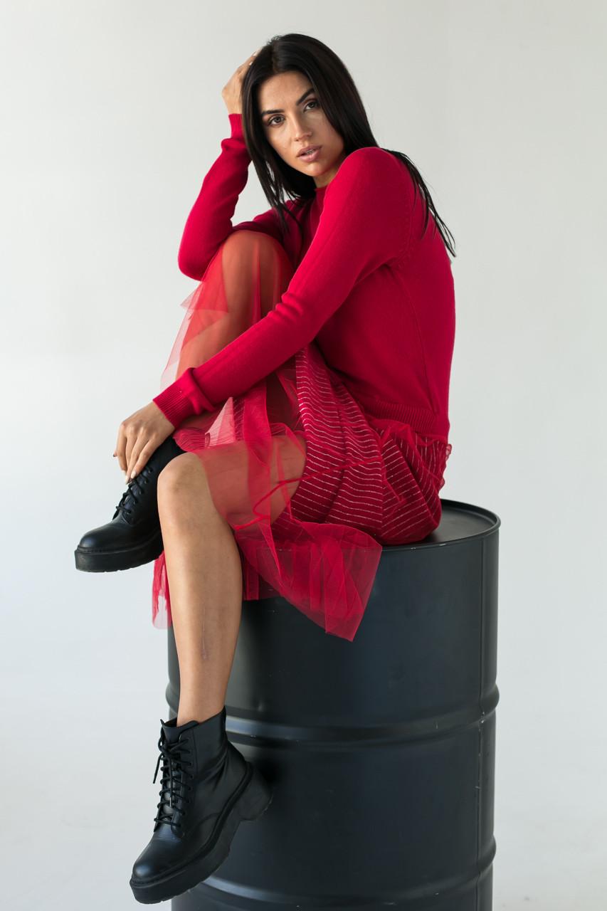 Bluoltre Шикарное платье с двойной юбкой в серебряную полоску - красный цвет, S/M