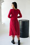 Bluoltre Шикарное платье с двойной юбкой в серебряную полоску - красный цвет, S/M, фото 2