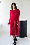 Bluoltre Шикарное платье с двойной юбкой в серебряную полоску - красный цвет, S/M, фото 3