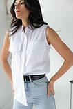 adda Блузка без рукавов с воротником-стойкой - белый цвет, L, фото 4