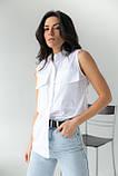 adda Блузка без рукавов с воротником-стойкой - белый цвет, L, фото 6