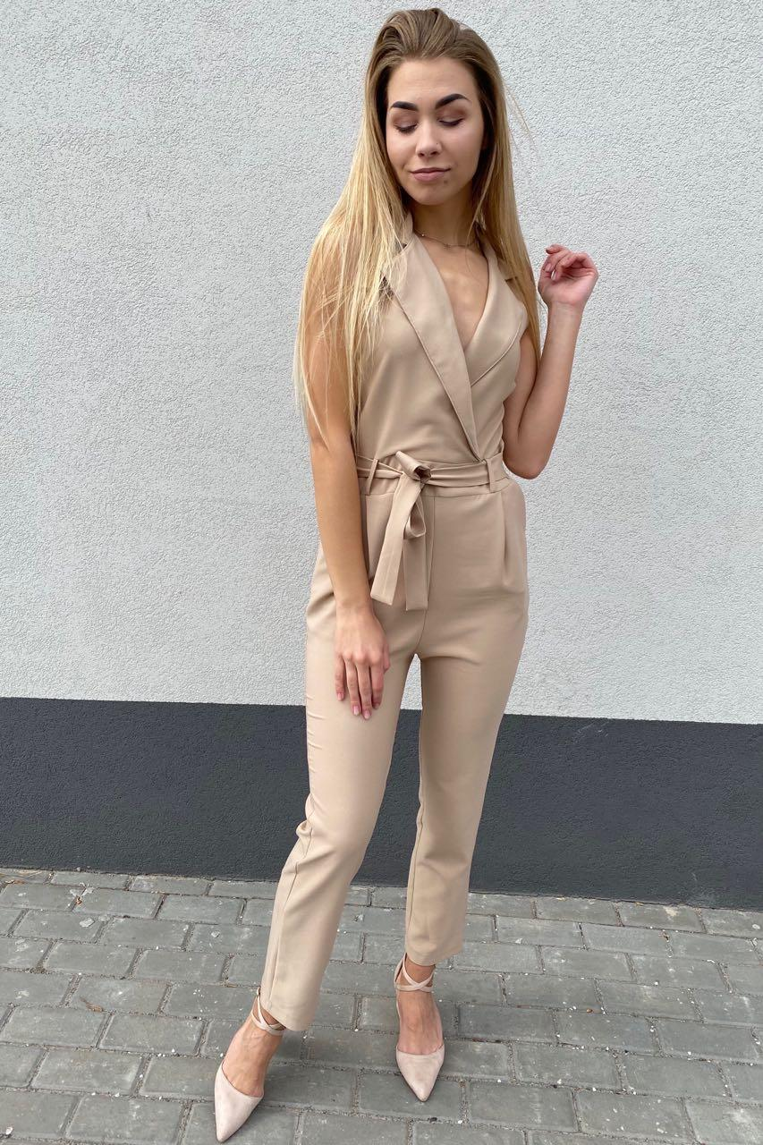 Cazibe Стильный женский комбинезон в деловом стиле - бежевый цвет, M