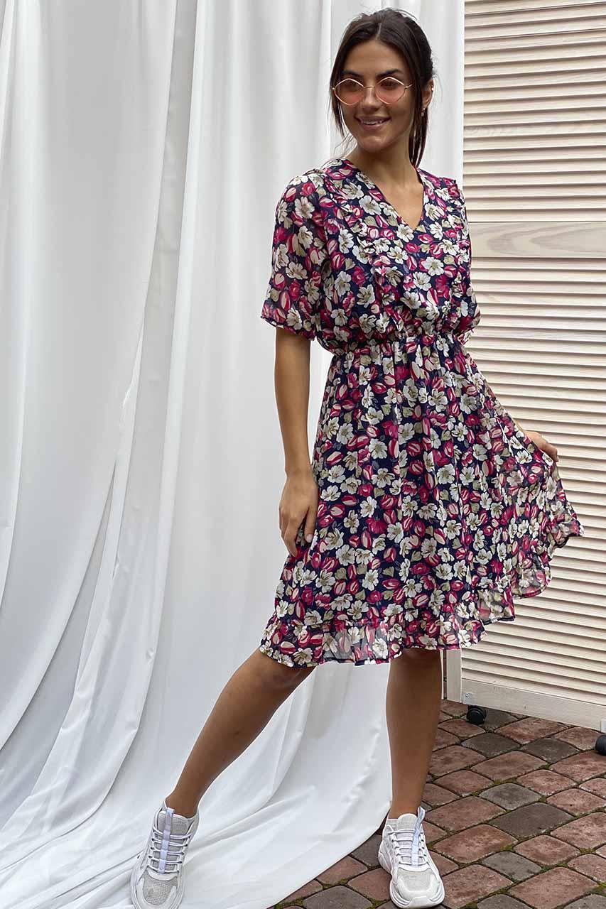 Pintore Романтичное шифоновое платье с рюшами - розовый цвет, 46р