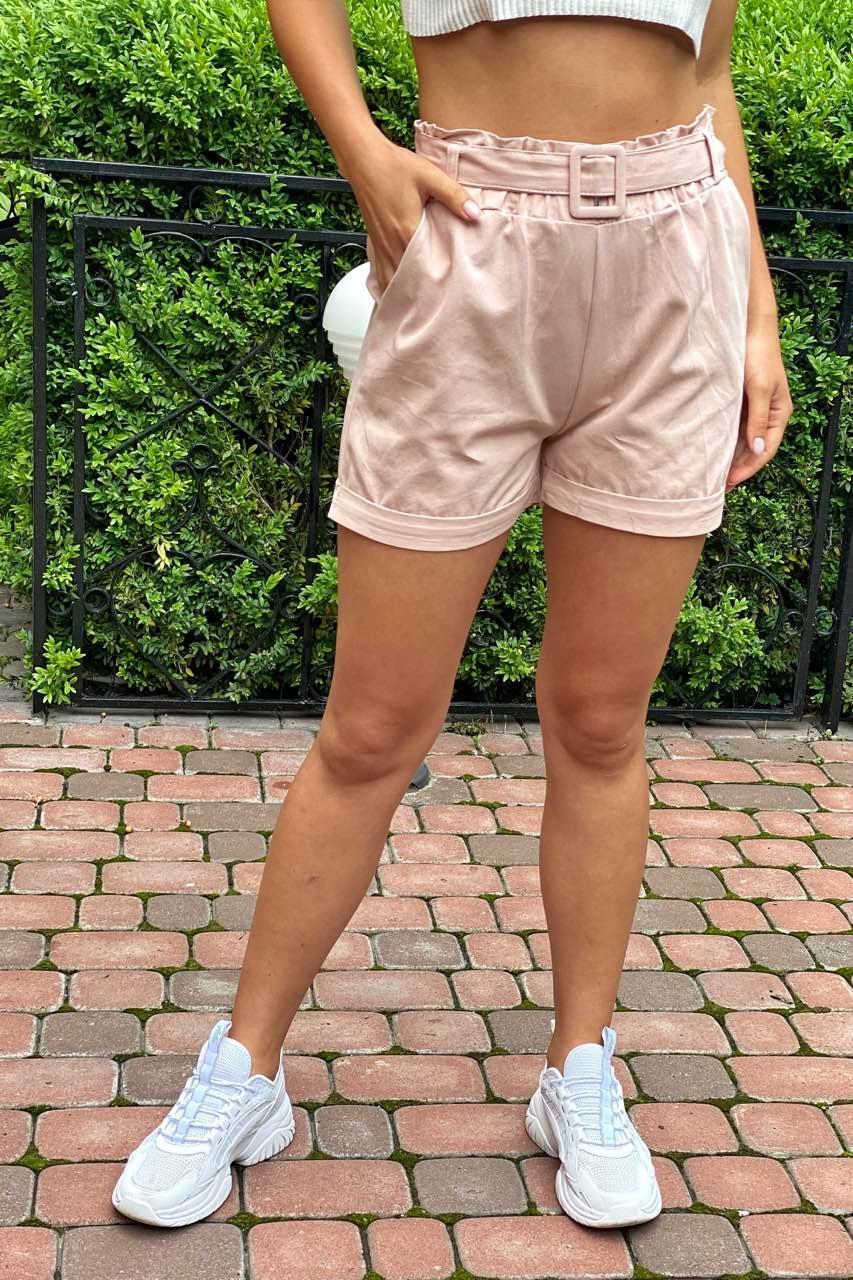 YJX Летние женские шорты с поясом  - пудра цвет, L