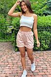 YJX Летние женские шорты с поясом  - пудра цвет, L, фото 3