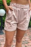 YJX Летние женские шорты с поясом  - пудра цвет, L, фото 5