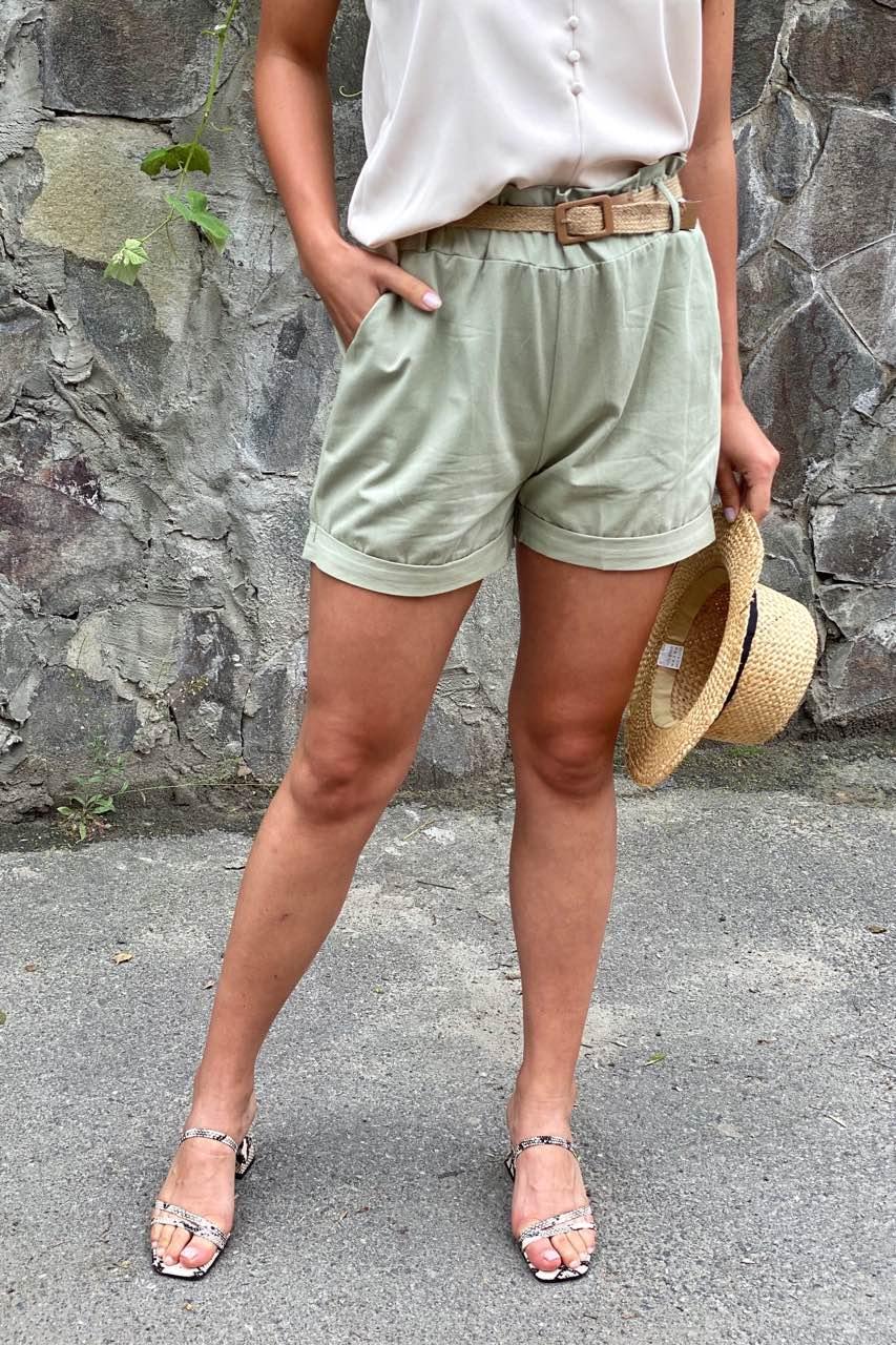 YJX Женские летние шорты с плетеным поясом  - мятный цвет, L