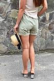 YJX Женские летние шорты с плетеным поясом  - мятный цвет, L, фото 2