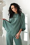 CLEW WOMAN Свободный костюм-двойка с разрезами по бокам  - мятный цвет, M, фото 3