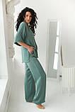 CLEW WOMAN Свободный костюм-двойка с разрезами по бокам  - мятный цвет, M, фото 8