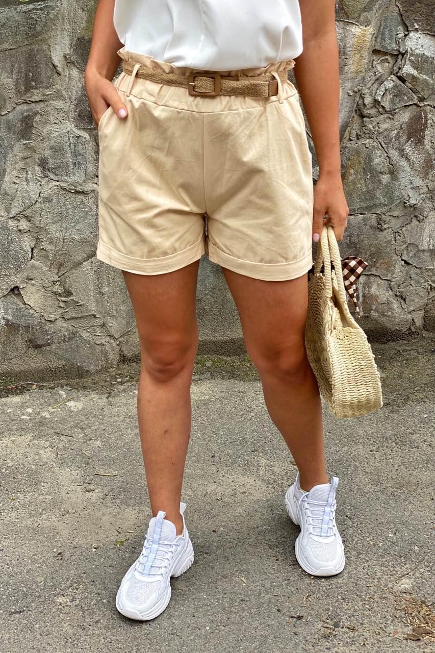 YJX Женские летние шорты с плетеным поясом  - бежевый цвет, M
