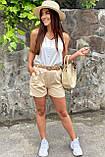 YJX Женские летние шорты с плетеным поясом  - бежевый цвет, M, фото 3