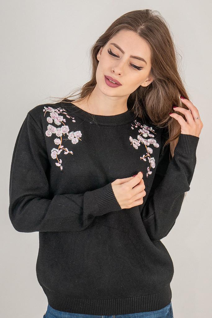 LUREX Кофта с цветочной вышивкой на воротнике - черный цвет, S