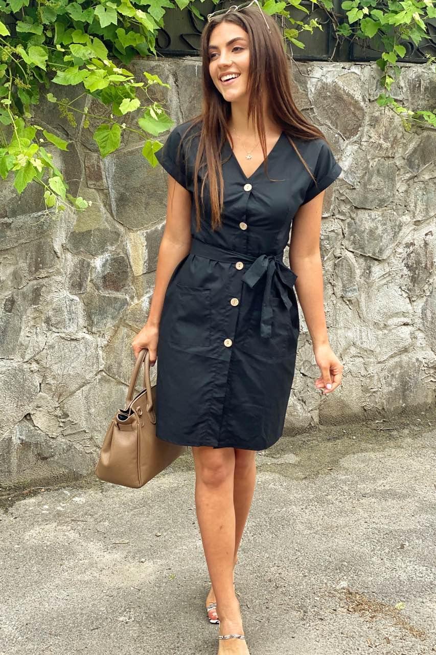 LUREX Платье-сарафан летнее на пуговицах  - черный цвет, L