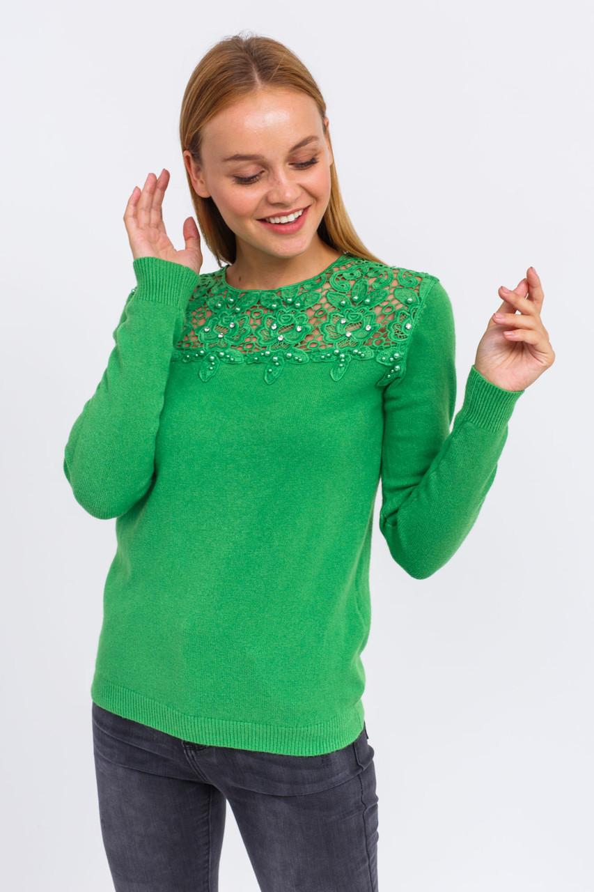 P-M Джемпер с цветочной кружевной вставкой - зеленый цвет, L/XL