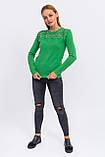 P-M Джемпер с цветочной кружевной вставкой - зеленый цвет, L/XL, фото 2