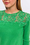 P-M Джемпер с цветочной кружевной вставкой - зеленый цвет, L/XL, фото 4