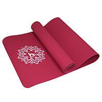 Коврик мат для йоги и фитнеса нескользящий 6 мм Красный SportVida
