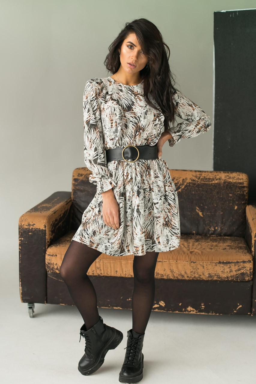 LUREX Элегантное платье с интересным рисунком - серый цвет, M