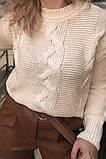 LUREX Объемный акриловый джемпер с косами - белый цвет, S, фото 2