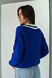 LUREX Вязаный пуловер с контрастной отделкой - синий цвет, L, фото 2