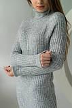 MIXRAY Стильное женское платье вязки лапша - серый цвет, M, фото 3