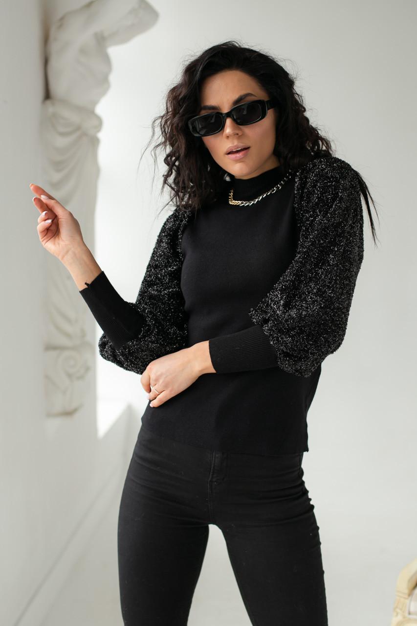 Leatitia Mem Джемпер с объемными рукавами люрекс-травкой - черный цвет, S