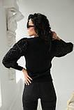Leatitia Mem Джемпер с объемными рукавами люрекс-травкой - черный цвет, S, фото 2
