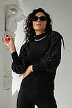 Leatitia Mem Джемпер с объемными рукавами люрекс-травкой - черный цвет, S, фото 5
