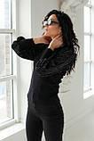 Leatitia Mem Джемпер с объемными рукавами люрекс-травкой - черный цвет, S, фото 6