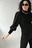 Leatitia Mem Джемпер с объемными рукавами люрекс-травкой - черный цвет, S, фото 7