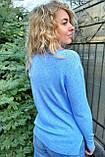 P-M Классический джемпер с карманами украшенными набивным кружевом камнями и жемчугом - голубой цвет, XXL/XXXL, фото 2