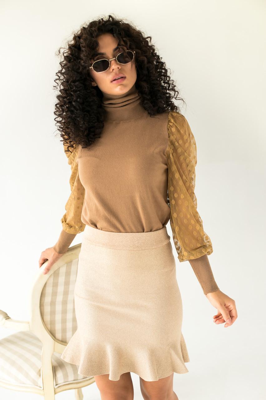 Jasmine Роскошный свитер с ажурными рукавами декорированными принтом горох - кофейный цвет, L